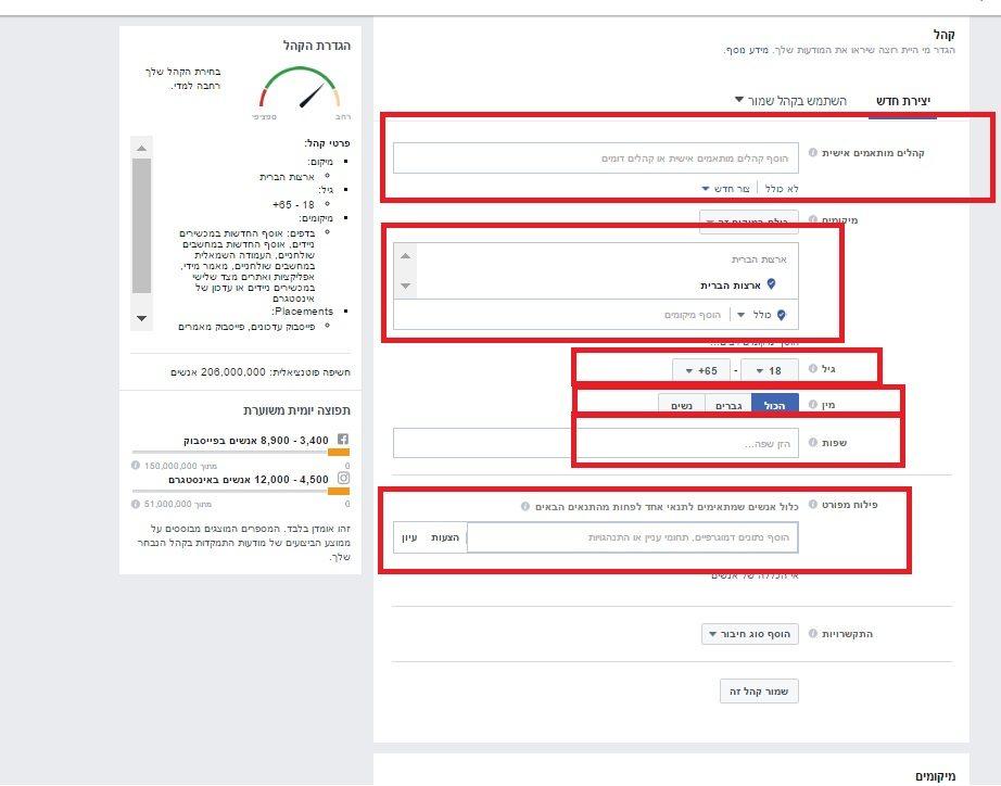 מילוי פרטי המודעה בפייסבוק